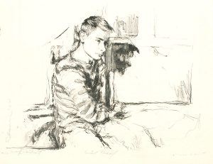 Robert Weaver, Self-Portrait (seated with a picture frame), lithograph (trial proof), 1964