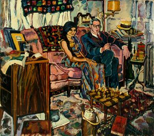 Robert Weaver, Two Seated Figures, oil on canvas, 1966