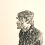 Robert Weaver, Self-Portrait with Checkered Cap, lithograph (dedication proof-white background), 1971