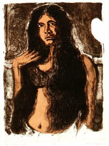 Robert Weaver, Girl with Long Hair, color etching (8/10), 1966