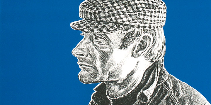 Robert Weaver, Self-Portrait with Checkered Cap, lithograph (experimental proof-blue background), 1971