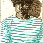 Robert Weaver, Self-Portrait (age 41), etching (color trial proof), 1978