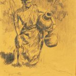Robert Weaver, Untitled (woman with jars), pencil, 1964