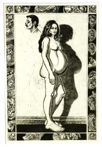 Robert Weaver, Pregnant Molly, etching, 1969