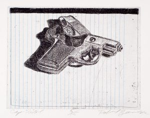 Robert Weaver, Johnnie's Toys - Cap-Pistol, two-color etching (5/15), 1982
