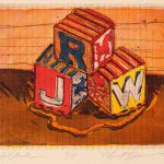 Robert Weaver, Johnnie's Toys - JRW Blocks, four-color etching (5/15), 1982