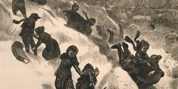 "Arthur Boyd Houghton, ""Coasting"" at Omaha, wood engraving, published in The Graphic, January 14, 1871"