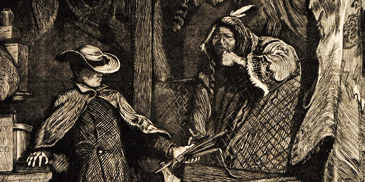 Arthur Boyd Houghton, Bartering with Indians, wood engraving