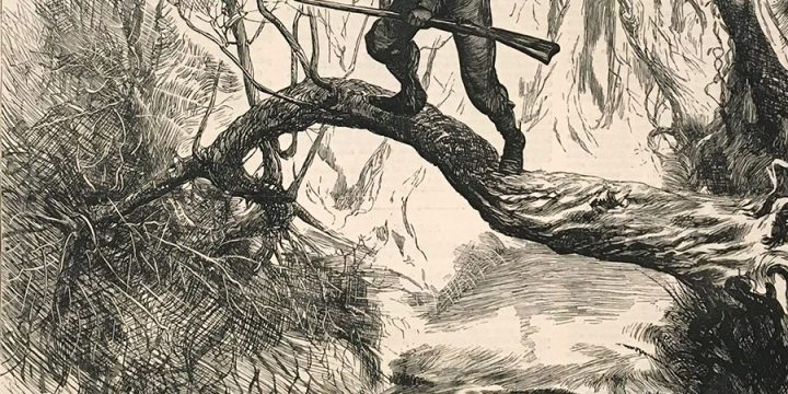 "Arthur Boyd Houghton, American Sketches - ""On the Scout"" -  A Scene in the Backwoods, wood engraving, published in The Graphic, March 9, 1872"