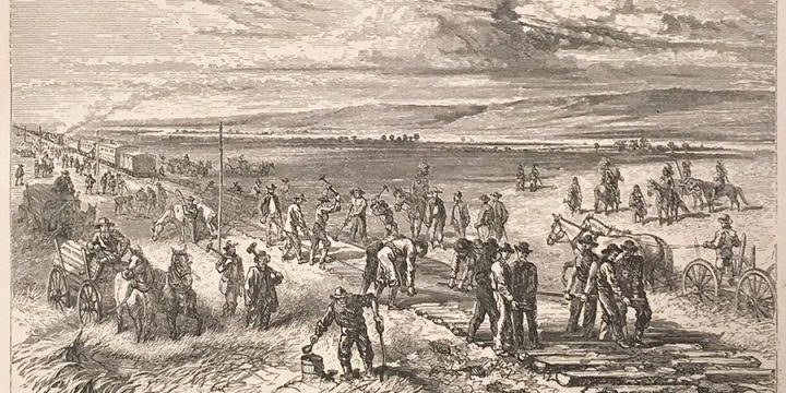 Alfred Rudolph Waud, Building the Union Pacific Railroad  in Nebraska, wood engraving, published in Beyond the Mississippi, 1869