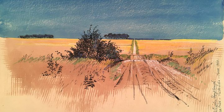 Patrick Horsbrugh, Beatrice, Nebraska June 1962, ink, pastel, watercolor, 1962