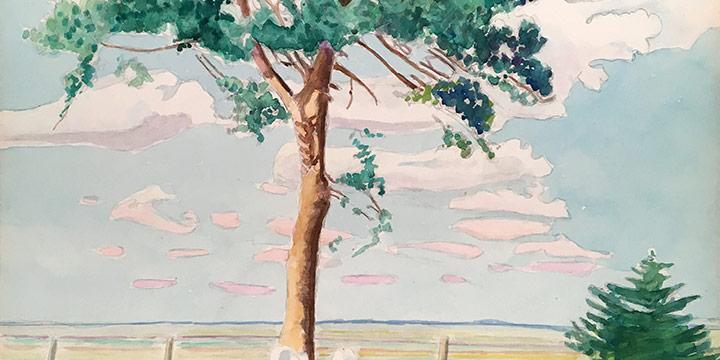 Walter Buckingham Swan, Rest In Peace on the Lone Prairie, watercolor, 1955