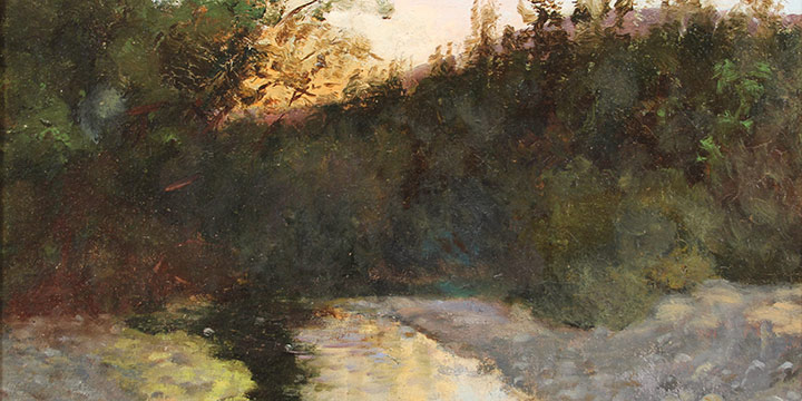 Solon H. Borglum, Creekside Scene, oil on canvas, 1895