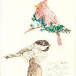 Robert Weaver, Two Birds (cardinal and chickadee), ink, marker, 1983
