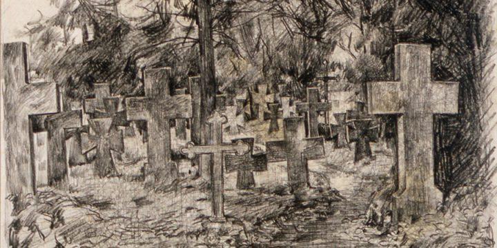 Leonard Thiessen, Graveyard of Teutonic Knights , litho crayon, 1934