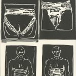 Kim Reid, The Book of Bad Things-Volume 1, Women - Support, artist book: linocut (1/4), 1998