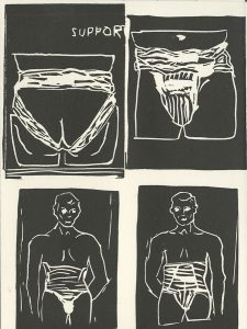 Kim Reid, The Book of Bad Things-Volume 1, Women - Support, artist book: linocut (1/4), 1998