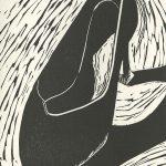 Tricia Hollins, The Book of Bad Things-Volume 1, Women - Cruel Shoe, artist book: linocut (1/4), 1998