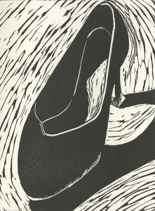Tricia Hollins, The Book of Bad Things-Volume 1, Women - Cruel Shoe, artist book: linocut (1/4), 1998