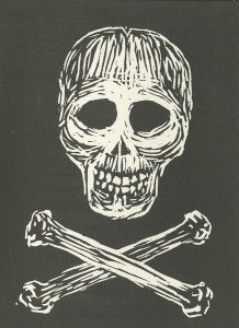 Patti Gallimore, The Book of Bad Things-Volume 1, Women - Poison, artist book: linocut (1/4), 1998