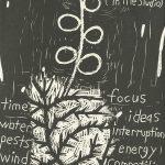 Karen Kunc, The Book of Bad Things-Volume 1, Women - Garden Demons, artist book: linocut (1/4), 1998