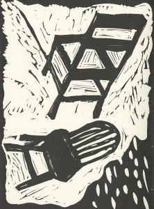 Susan Knight, The Book of Bad Things-Volume 1, Women - Sitting Through Life is a Bad Thing, artist book: linocut (1/4), 1998