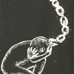 Andrea Dickkut, The Book of Bad Things-Volume 1, Women - The Pit, artist book: linocut (1/4), 1998