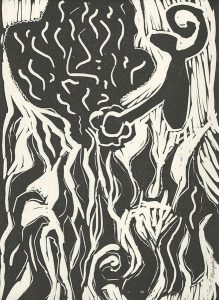 Mary Catania Murphy, The Book of Bad Things-Volume 2, Children - You Play With Fire, You Get Burned, artist book: linocut (1/4), 1998