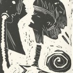 Mary Beth Schmidt Fogarty, The Book of Bad Things-Volume 2, Children - About to Shout, artist book: linocut (1/4), 1998