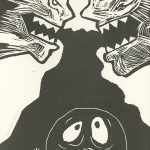 Peggy Reinecke, The Book of Bad Things-Volume 2, Children - Legacy, artist book: linocut (1/4), 1998