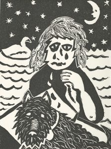Kathlene Wisler, The Book of Bad Things-Volume 2, Children - My Wolfgang, artist book: linocut (1/4), 1998