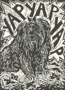 Susan McGilvrey, The Book of Bad Things-Volume 2, Children - Widdle Fluffie-Wuffie and Him's Widdle Poopsie-Woopsies, artist book: linocut (1/4), 1998