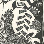 Kristin Pluhacek, The Book of Bad Things-Volume 2, Children - Arthur R.I.P., artist book: linocut (1/4), 1998