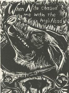 Nancy Steele, The Book of Bad Things-Volume 2, Children - Mita and the Hoghead, artist book: linocut (1/4), 1998