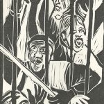 Frances Thurber, The Book of Bad Things-Volume 3, Society - Cacophany, artist book: linocut (1/4), 1998