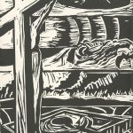 J. Marlene Mueller, The Book of Bad Things-Volume 3, Society - Forceful Nature, artist book: linocut (1/4), 1998