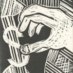 Isabella Threlkeld, The Book of Bad Things-Volume 3, Society - Greed, artist book: linocut (1/4), 1998