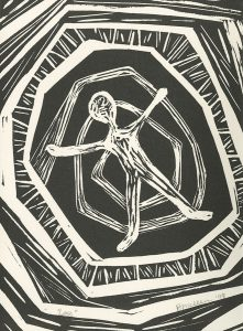Betty Mellen, The Book of Bad Things-Volume 3, Society - Loss, artist book: linocut (1/4), 1998