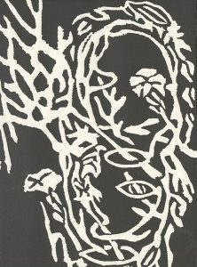 Verla Rarick Shaner, The Book of Bad Things-Volume 3, Society -Two Lives II, artist book: linocut (1/4), 1998