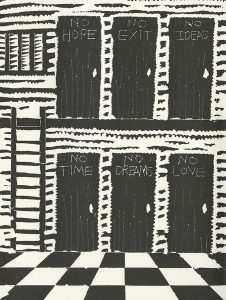Linda Meigs, The Book of Bad Things-Volume 3, Society -Interior Without Prozac, artist book: linocut (1/4), 1998