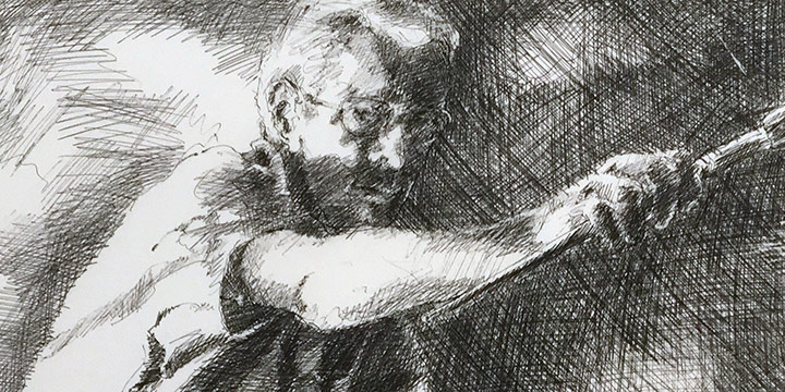 Dan Howard, Soliloquium: VI, Self Portrait preparatory study , ink on paper, 2003