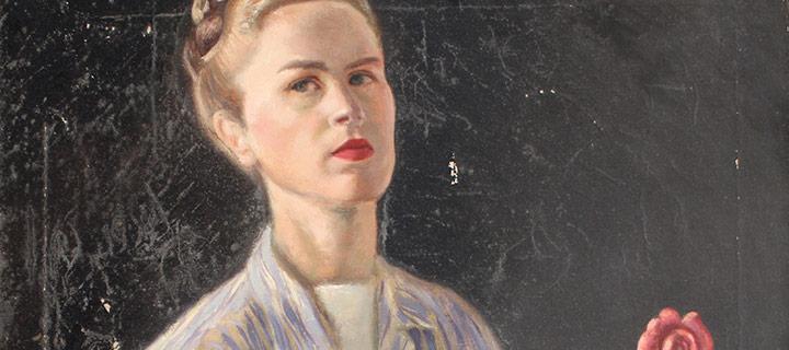 """Mary Elizabeth Gifford, Self Portrait, n.d., 28 × 22"""""""