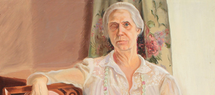 """Mary Elizabeth Gifford, Jessica Jonas (unfinished portrait of the artist's mother), n.d., 36 × 36"""""""