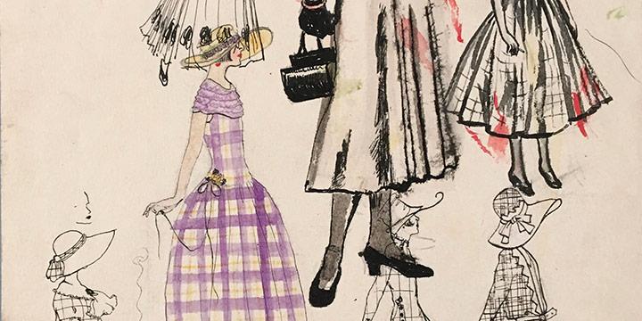Mary Elizabeth Gifford, Women in Dresses, 1923-1948, ink, watercolor, n.d.