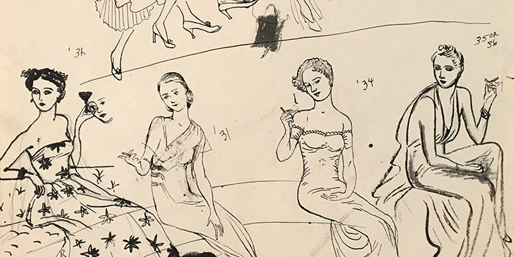 Mary Elizabeth Gifford, Women in Elegant Dresses, 1928-1936, ink, ink wash, n.d.
