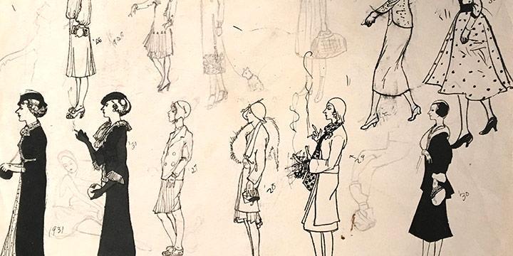 Mary Elizabeth Gifford, Women in Day Dresses, 1918-1936, ink, ink wash, n.d.