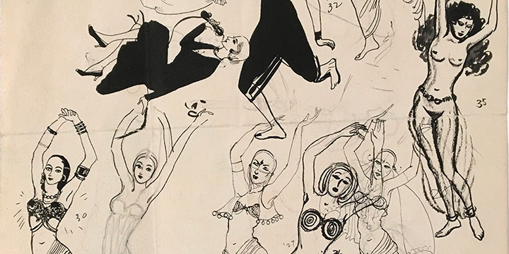 Mary Elizabeth Gifford, Exotic Dancers and Telephone Girls, 1924-1930, graphite, ink, ink wash, n.d.