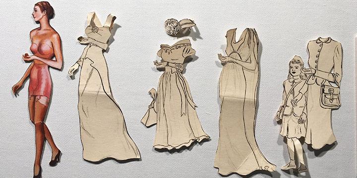 Mary Elizabeth Gifford, Stylish Paper Dolls, 1945, graphite, ink, ink wash, watercolor, 1945