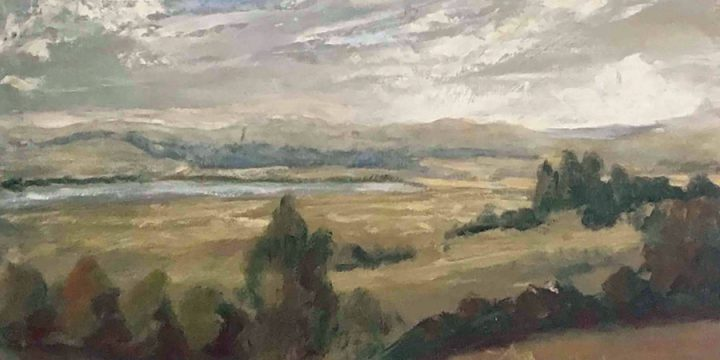 Miriam (Mim) Warlock, Untitled (river valley), oil on board, n.d.