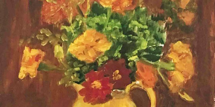 Miriam (Mim) Warlock, Untitled (yellow pitcher with flowers), oil on board, 1971